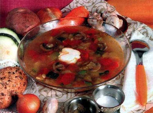 """Рецепт """"Грибной суп с кабачками"""""""