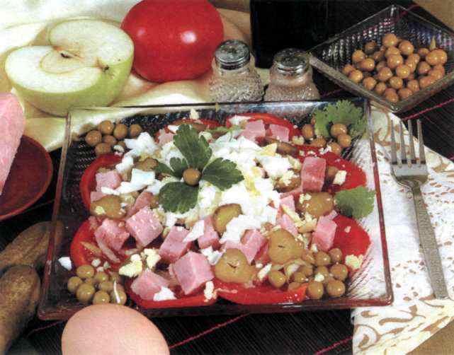 "Рецепт ""Салат из ветчины с помидорами и огурцами"""