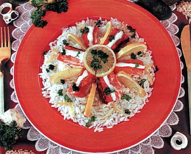 """Рецепт """"Лосось, запеченный под белым соусом"""""""