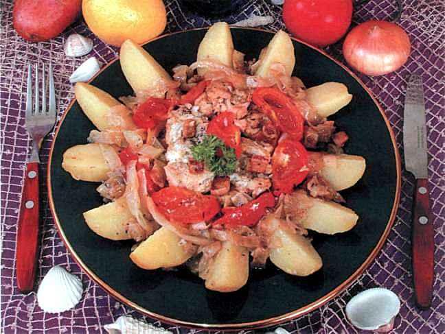 """Рецепт """"Жареная рыба с овощами"""""""