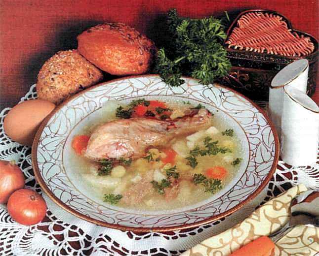 """Рецепт """"Куриный суп с фасолью и луком"""""""