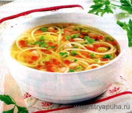 Летний суп со спагетти