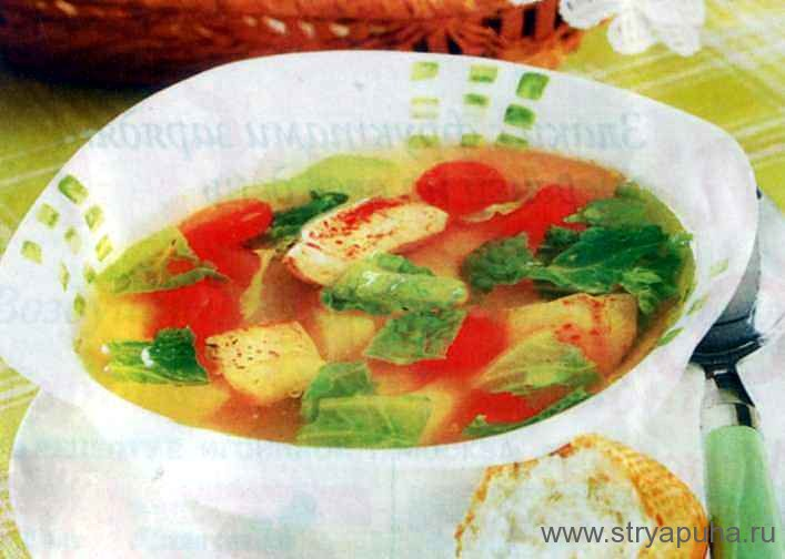 Пестрый суп с курицей