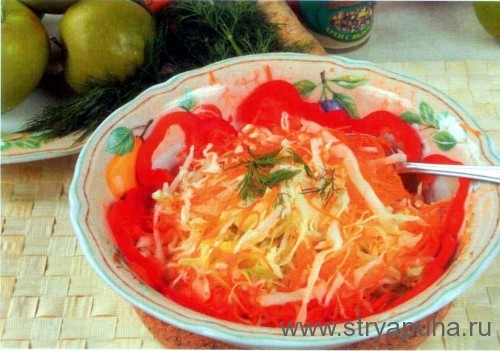 Салат из белокочанной капусты с морковью и хреном