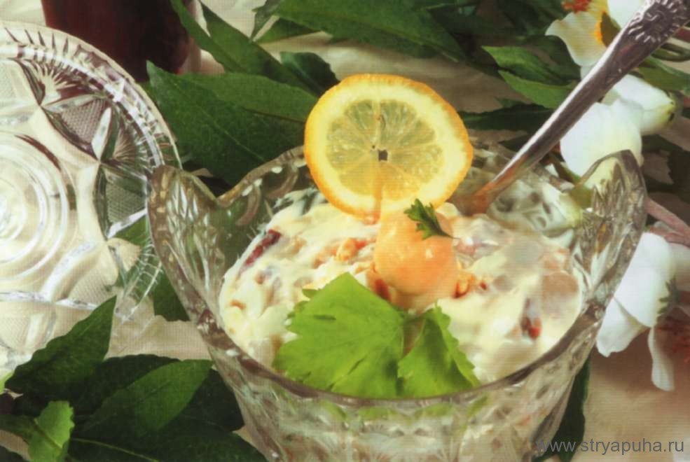 Салат из осетрины с грибами